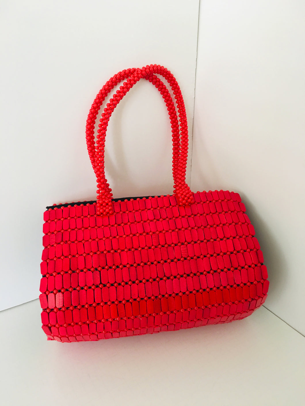 Solid Red Color Beaded HandCrafted Handbag