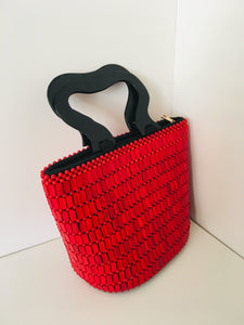 Solid Red Color Beaded HandCrafted Handbag with Wooden Handles.