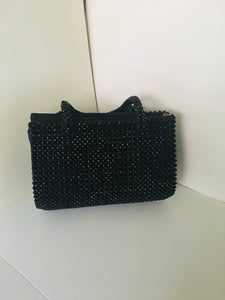 Solid Black Beaded Handcrafted Handbag