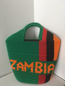 Zambian Flag Beaded Handbag