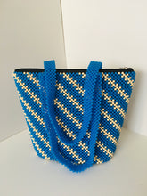 Light Blue and Beige colors Handcrafted Beaded Purse