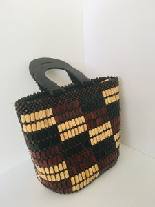 Coffee Brown and Creamy Color HandCrafted Beaded Handbag