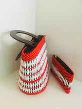 Solid Red and White Handcrafted Beaded Handbag