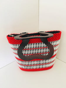 Solid Red and White Beaded HandCrafted Handbag with Wooden Handles.