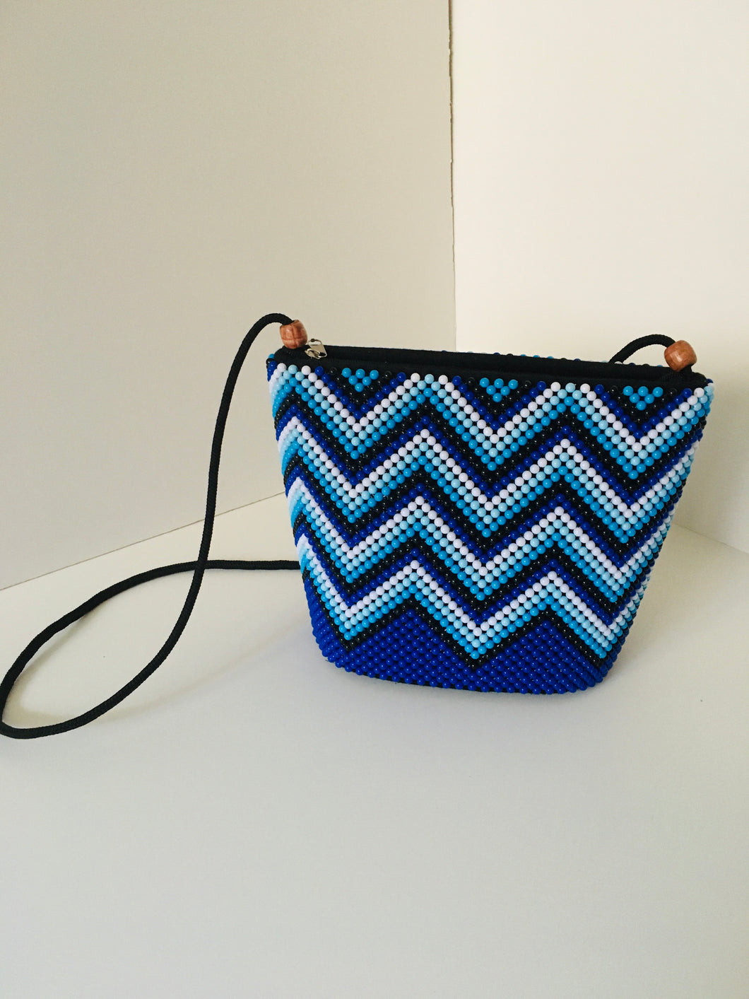 Blue, white and Black colors Handcrafted Beaded Purse.