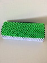 Lime green, white and blue ( Sierra Leon flag colors) beaded clutch.