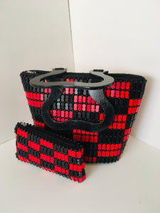 Solid Black and Red Handcrafted Beaded Purse with Wooden Handles.