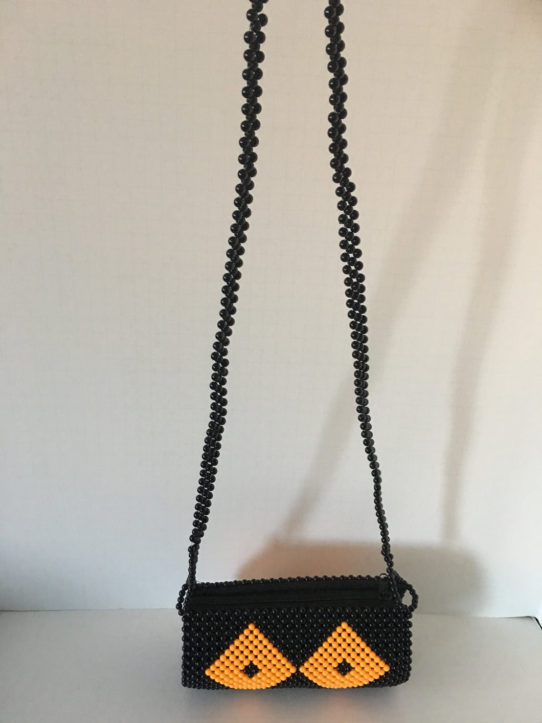 Black and Orange Color Beaded Clutch with Hundle
