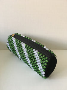Lime green and white  Beaded clutch