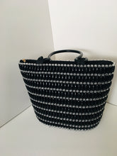 Solid Black and glass beads, Handcrafted Bag with plastic Handles.