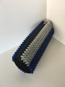 Loyal blue and glass white beaded clutch