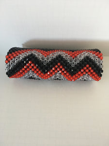 Black, Red and Glass white beaded clutch