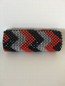 Black, White and Red beaded clutch