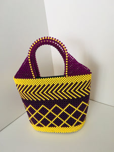 Lavender and Yellow Color Beaded Handbag