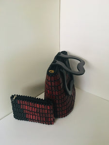 Coffee Brown and Black with wooden Handles, Beaded Handbag