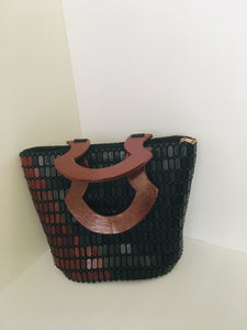Coffee and Black Handcrafted Beaded Handbag