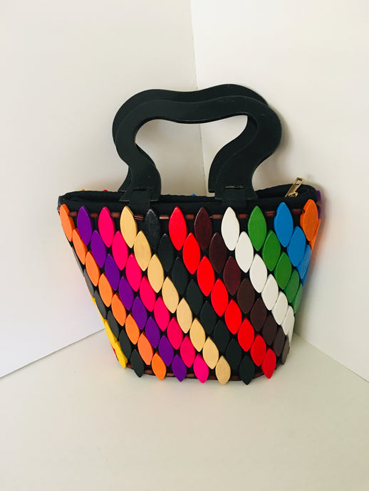 Multiple colors Wooden HandCrafted Handbag.