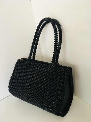Solid Black HandCrafted Beaded Handbag.