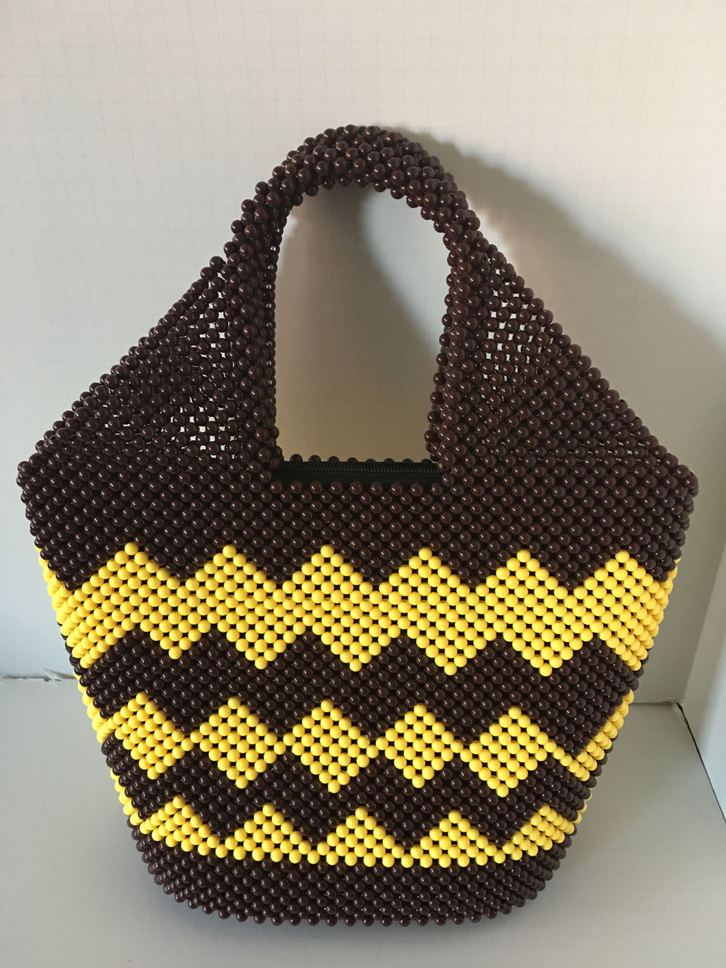 Brown and Yellow Color Hand Crafted Beaded Handbag.