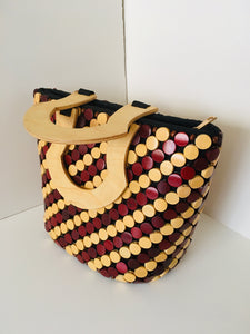 Coffee Brown and Beige Color Handcrafted wooden Purse