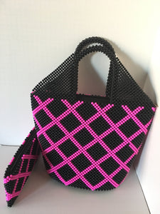 Black and Rose pink Color Beaded Handbag