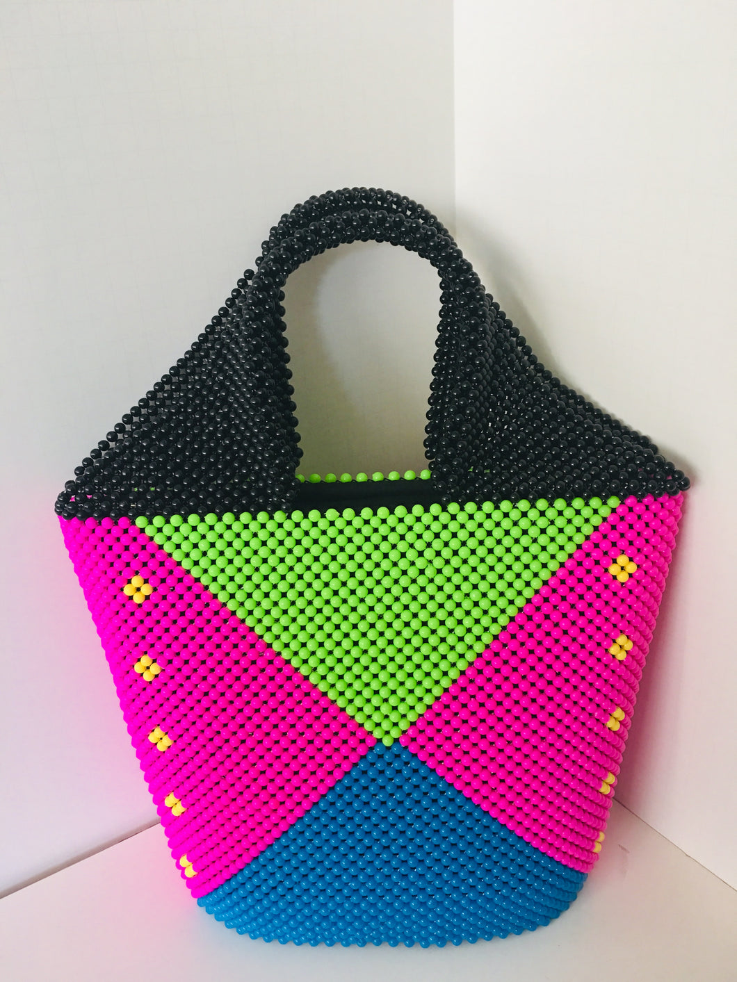 Lime Green, pink and Blue with black Handles,Handcrafted Beaded Handbag.