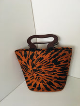 Handcrafted Handbag made out of Backcloth Material with Wooden Handles