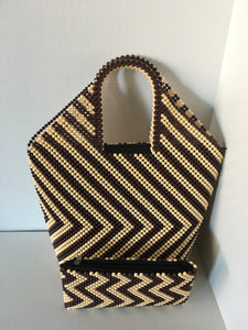 Off White and Brown Color Hand Crafted Beaded Handbag.