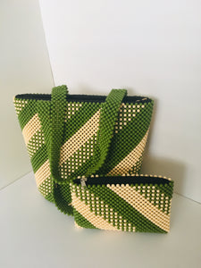 Green and off white HandCrafted Beaded Handbag