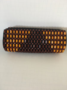 Gold and Coffee Brown beaded clutch.