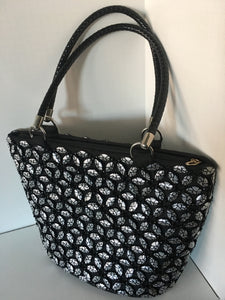 Black and Silver Color Hand Crafted Beaded Handbag.