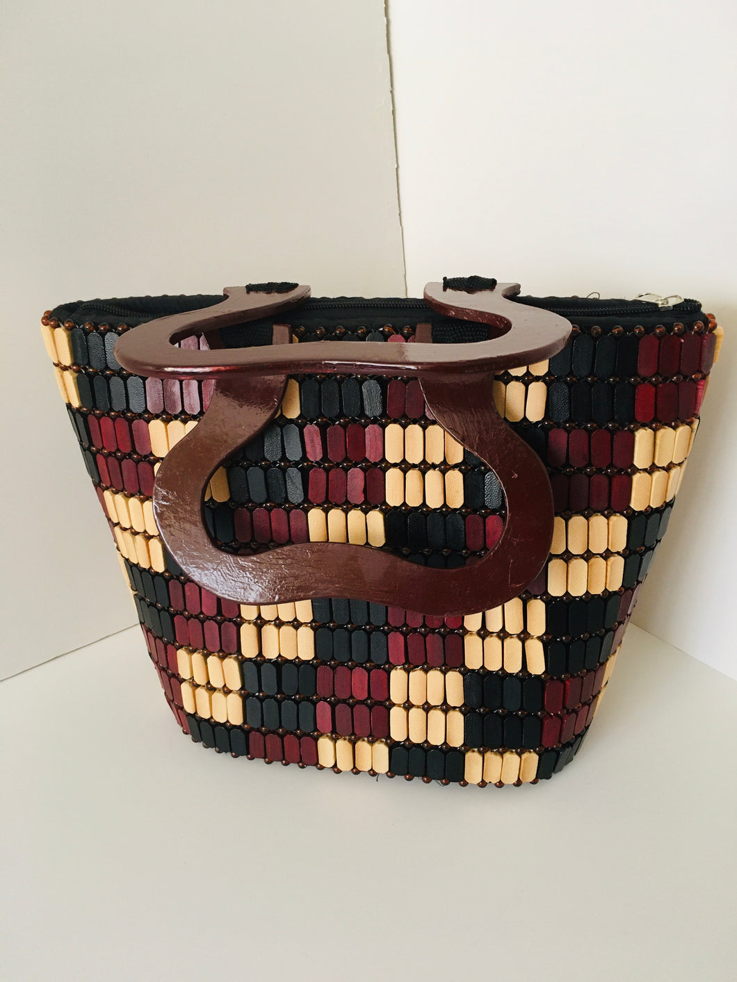 Coffee Brown, Beige and Black HandCrafted Beaded Purse