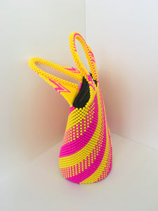 Yellow and Pick Handcrafted Beaded Handbag