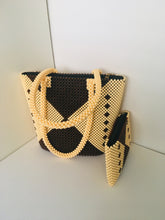 Coffee Brown and Off White Beaded HandCrafted Handbag