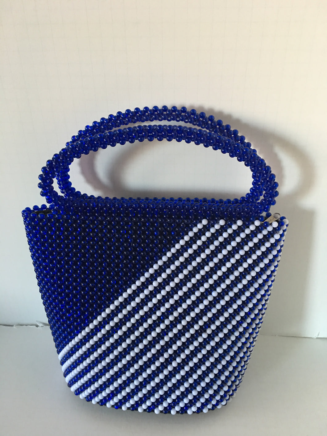 Blue and White Hand Crafted beaded Handbag.