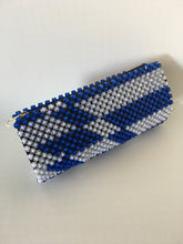 White and blue beaded clutch