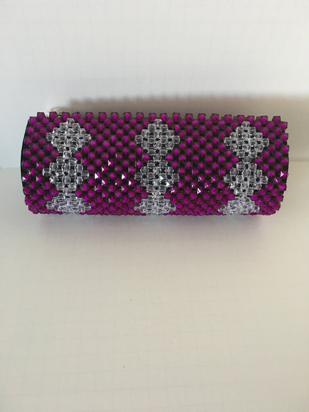 Purple and glass white beaded clutch