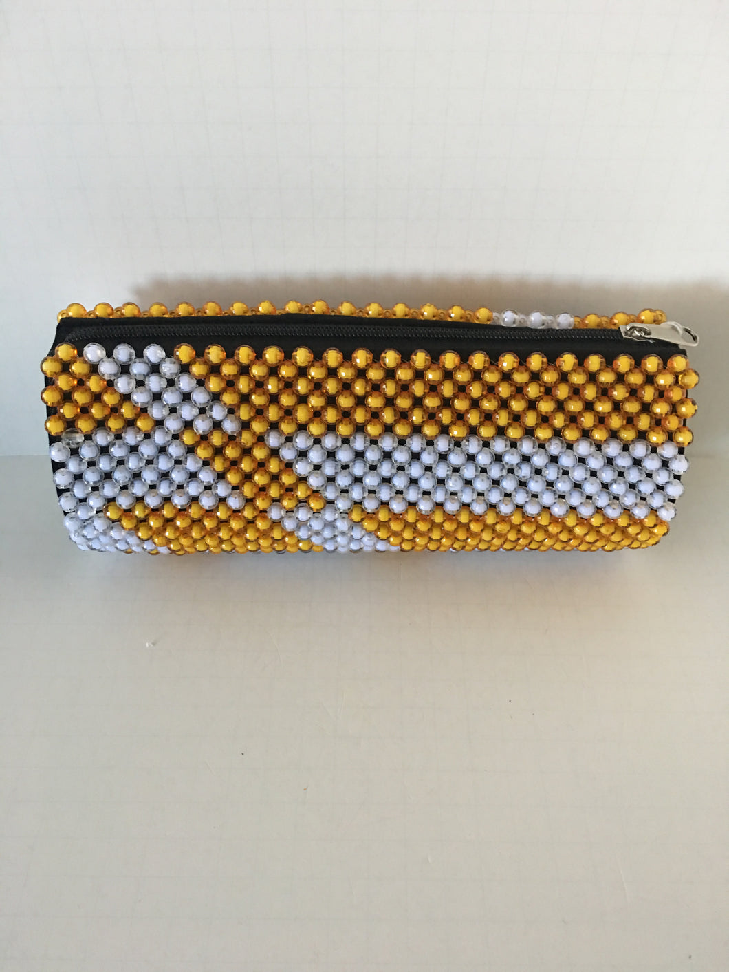Yellow and White Color Beaded Clutch