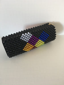 Black with Multiple Color Beaded Clutch