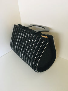Black and Silver Handcrafted Beaded Handbag