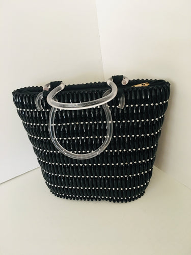 Solid Black HandCrafted Beaded Handbag with Plastic Handles.