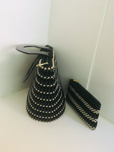Sold Black with Silver Handcrafted beaded Handbag.