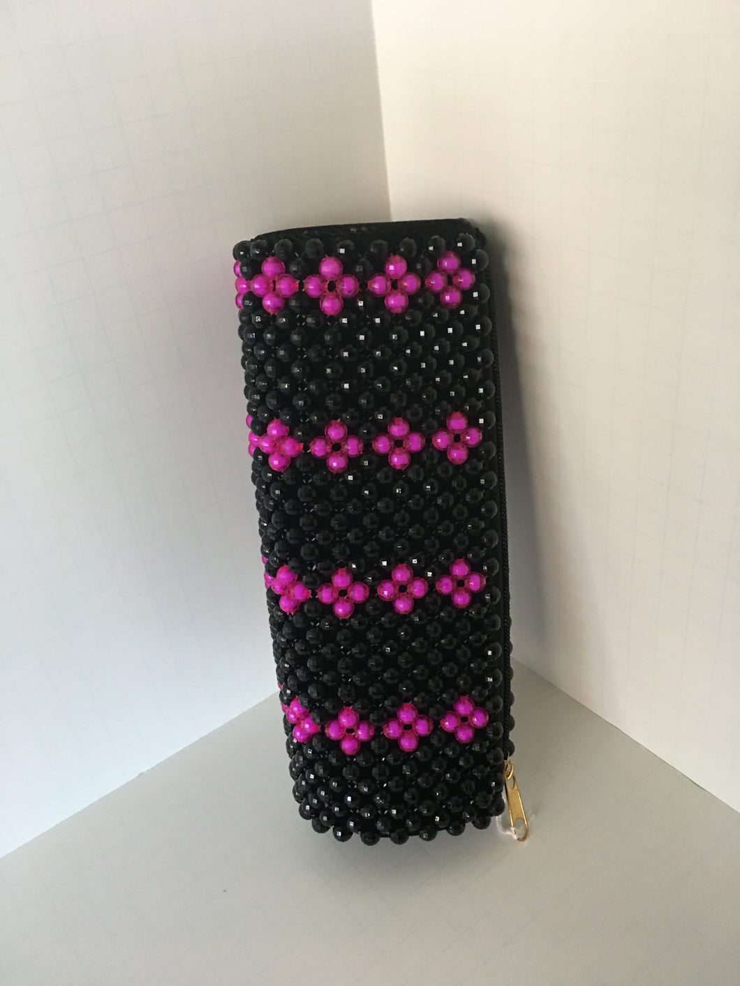 Black and Rose pink beaded clutch