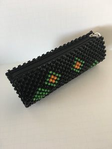 Black, Lime Green and Gold Beaded Clutch