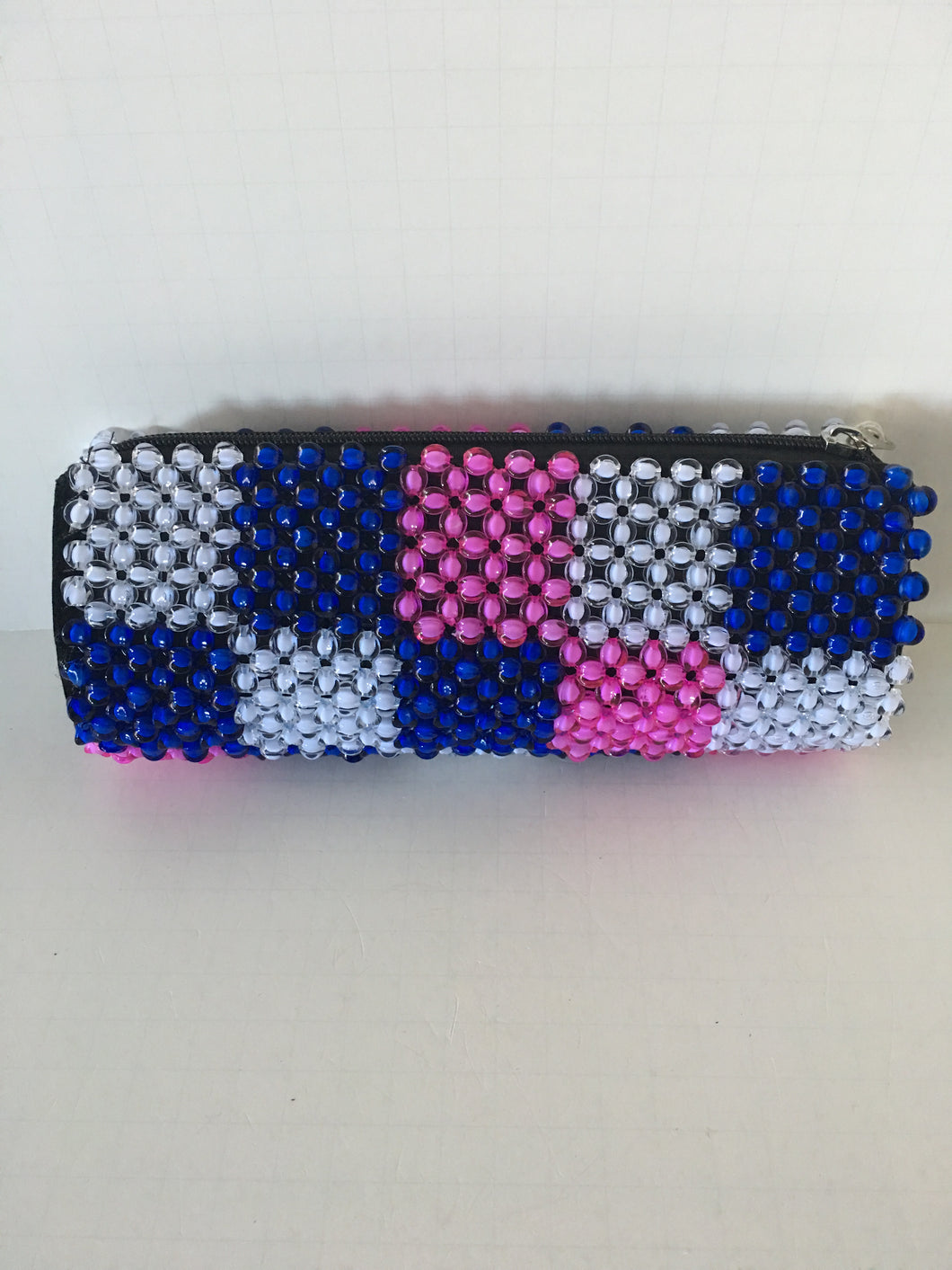 White, Blue and Pink Color Beaded Clutch