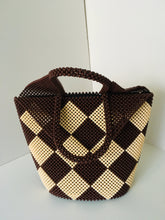 Beige and Coffee Brown Handcrafted Beaded Purse
