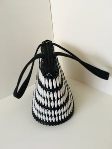 Black and white Handcrafted Beaded Handbag with fabric handles