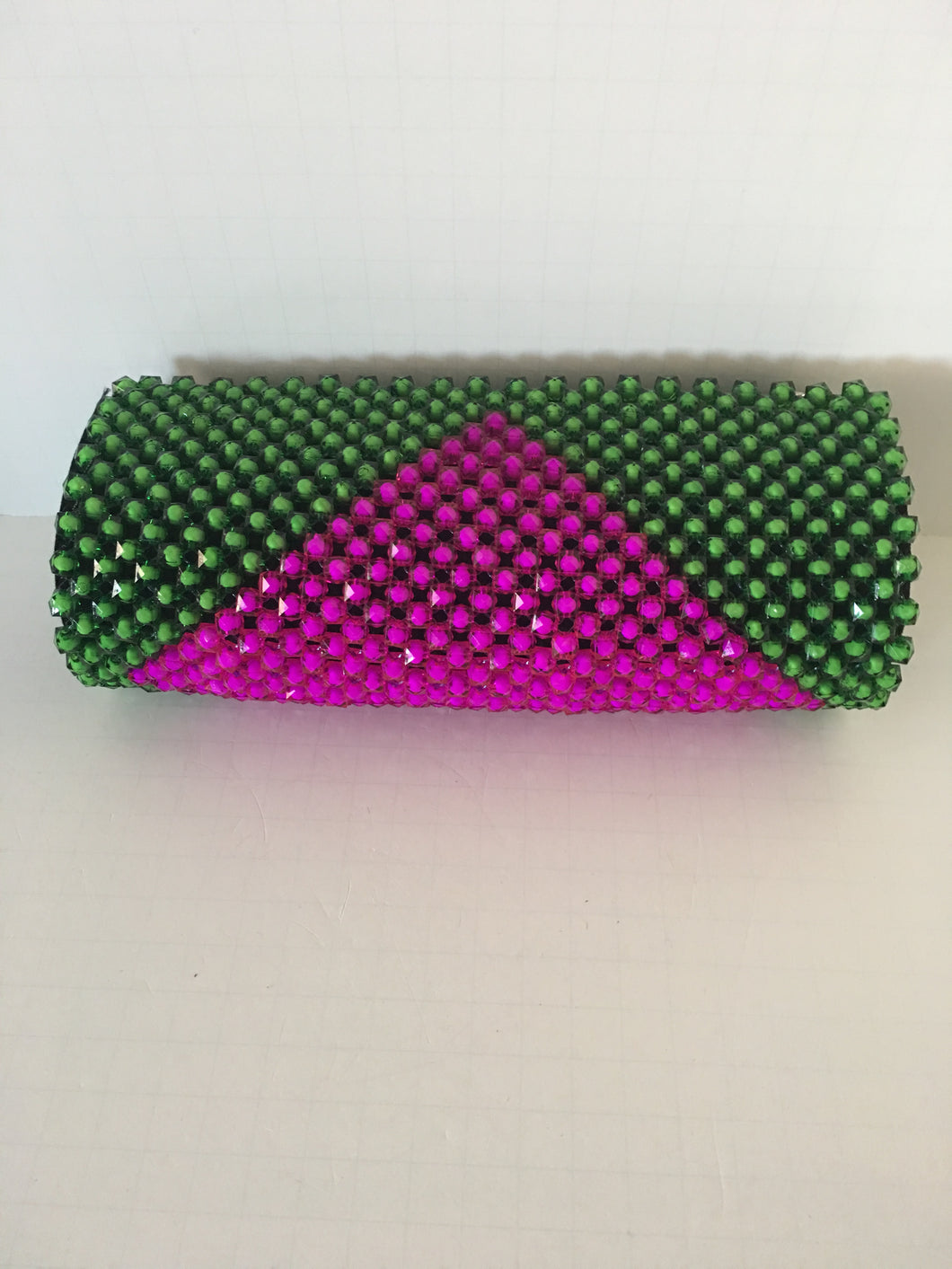 Lime Green and Rose Pink Color Beaded Clutch