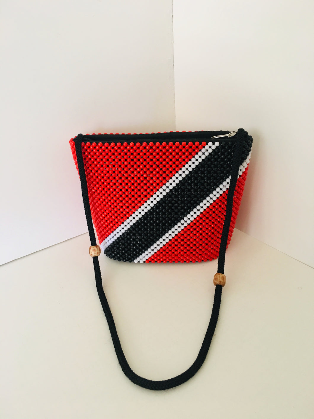 Trinidad Tobago Flag Theme HandCrafted Beaded Handbag.