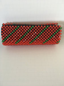 Red and Lime Green Color Beaded Clutch